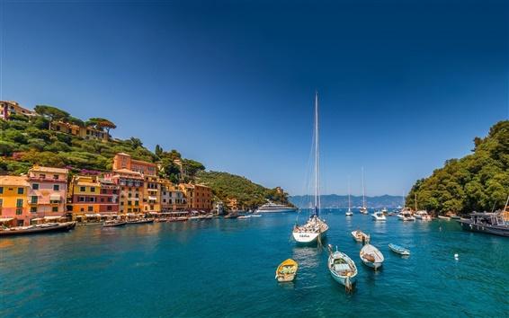 Обои Портофино, Лигурия, Италия, море, яхты, лодки, дома, горы