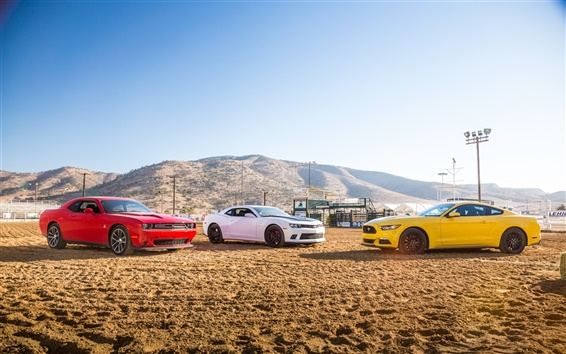 Wallpaper Red Dodge Challenger, White Chevrolet Camaro, Yellow Ford Mustang