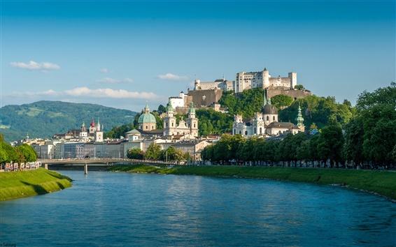 Wallpaper Salzburg, Austria, river, bridge, houses, mountains