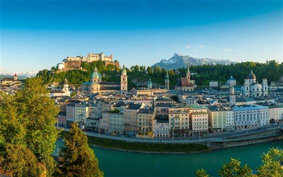 Papéis de Parede Salzburgo, A República da Áustria, rio, casas