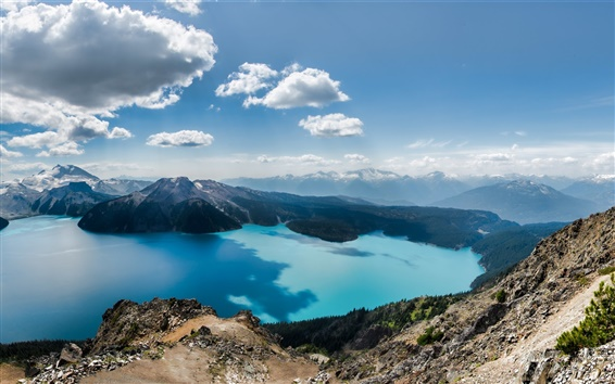 Wallpaper Squamish-Lillooet, Columbia, Canada, lake, mountains, sky, clouds
