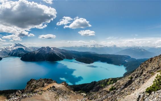 Fondos de pantalla Squamish-Lillooet, Columbia, Canadá, lago, montañas, cielo, nubes