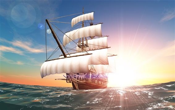 Wallpaper Sun rays, sea, sail, ship