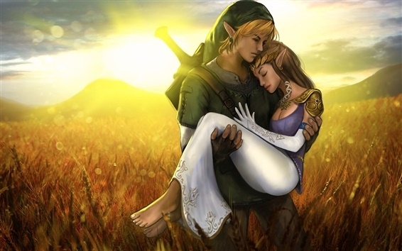 Wallpaper The Legend of Zelda, boy with girl love