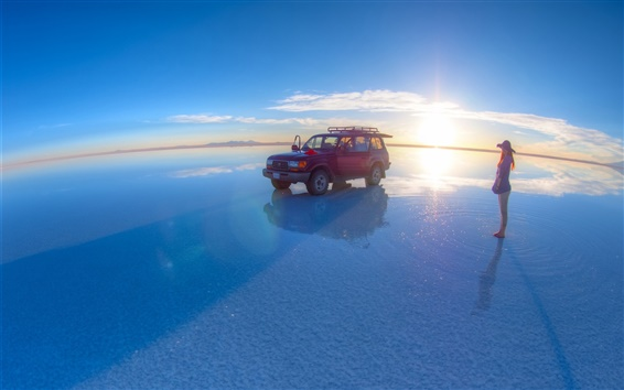 Wallpaper Uyuni Salt Lake, girl, Toyota pickup, sunset, blue sky
