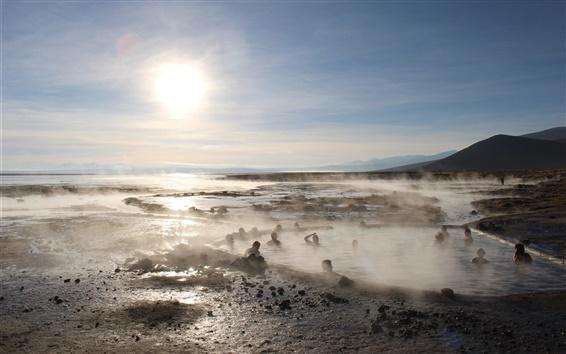 Wallpaper Uyuni salt lake, sun, hot springs, Japan