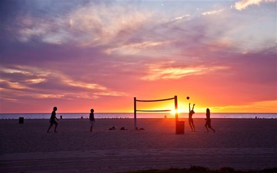 壁紙 ヴェネツィアビーチ、ロサンゼルス、カリフォルニア州、アメリカ、日没、バレーボール、人々