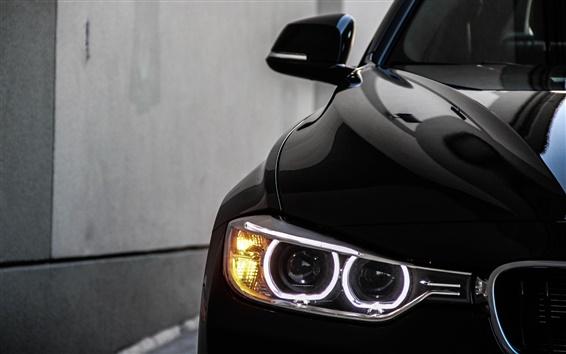 Wallpaper 2013 BMW 328i black car angel eyes
