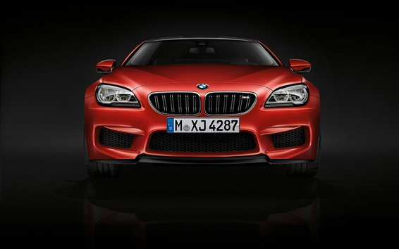 Wallpaper 2015 BMW M6 coupe, F13 red car front view