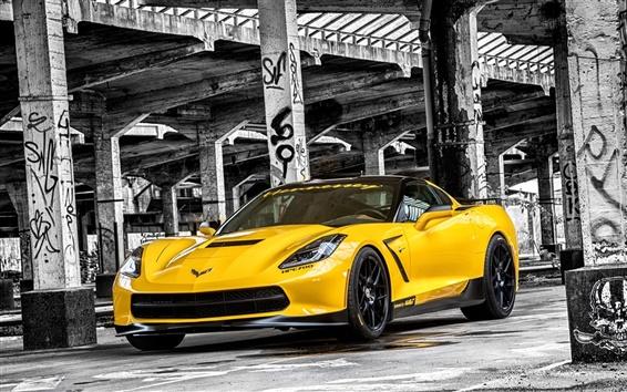 Обои 2015 Chevrolet Corvette, Stingray HPE700 C7 желтый суперкар