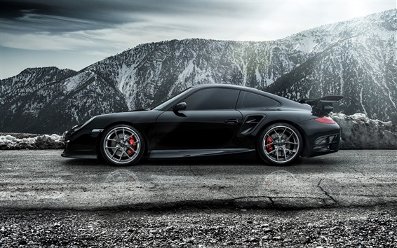 Wallpaper 2015 Porsche 911 Carrera Turbo black supercar