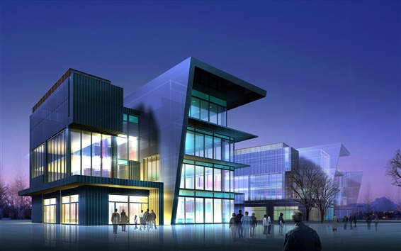 Wallpaper 3D modern commercial buildings