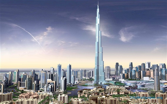 Wallpaper 3D renderings, Burj Khalifa, buildings, Dubai
