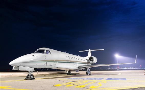 Wallpaper Airfield, plane, night, lights