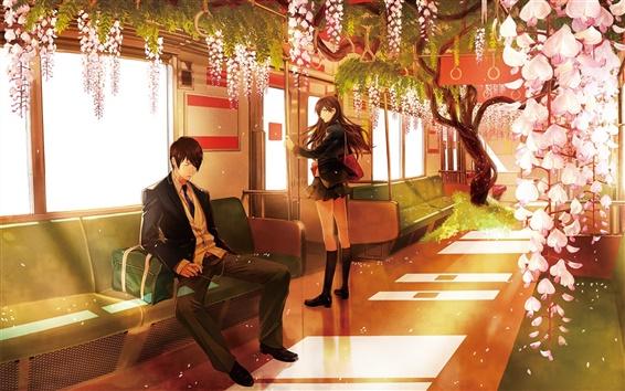 Fond d'écran Anime, métro, fleurs roses, garçon et fille