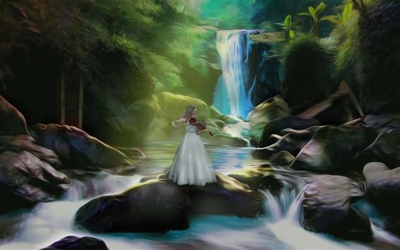Wallpaper Art pictures, girl play violin, waterfalls, stones