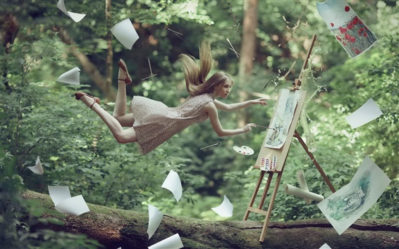Wallpaper Artist girl, flying, drawing, paper, creative pictures