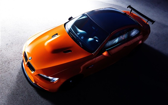Wallpaper BMW orange supercar top view