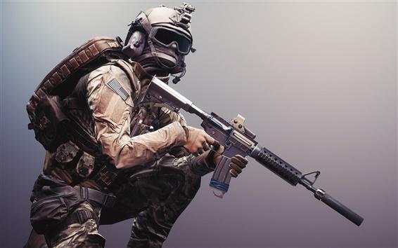 Papéis de Parede Battlefield 4, soldado, armas, equipamentos