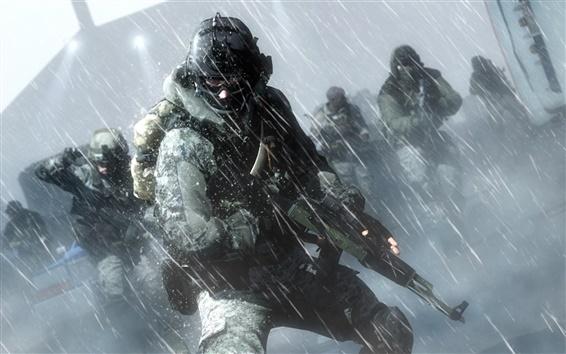 Fond d'écran Battlefield 4, les soldats, l'action sous la pluie