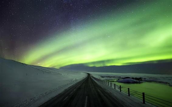 Обои Красивые северное сияние, дорога, снег, зима, Исландия