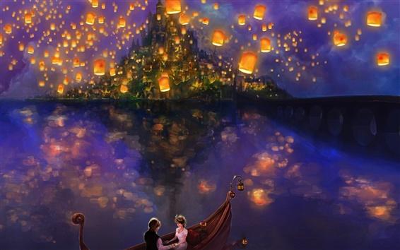 Papéis de Parede A pintura bonita, lampion no céu, barco, amantes
