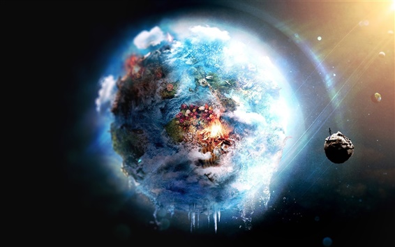 壁紙 美しい宇宙、地球、月、花、創造的な