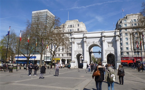壁紙 建物、ゲート、ストリート、人々、ベーカーストリート、ロンドン、イングランド