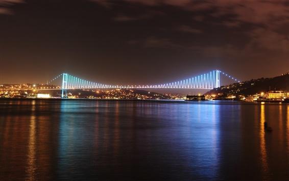 Обои Город ночь, залив, вода, мост, дома, фонари