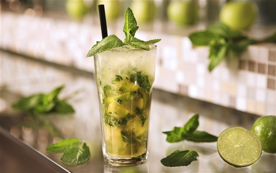 Wallpaper Cold drinks mojito, mint leaves, lime green, ice