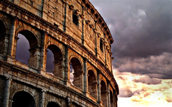 Wallpaper Colosseum, Rome, Italy, clouds, dusk