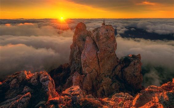 Wallpaper Crimea, Ai-Petri, sunset, mountain, clouds, beautiful landscape
