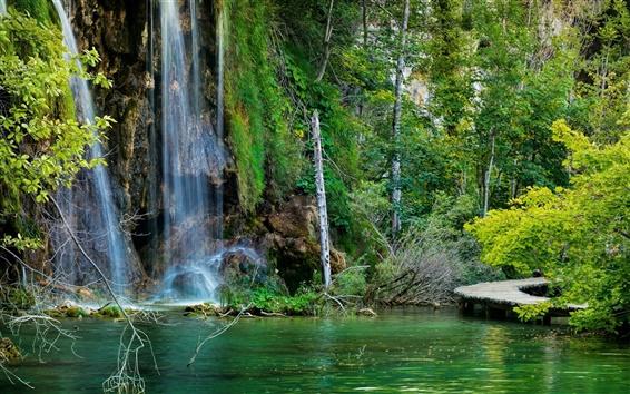 Wallpaper Croatia, Plitvice Lakes National Park, waterfalls, forest, lake