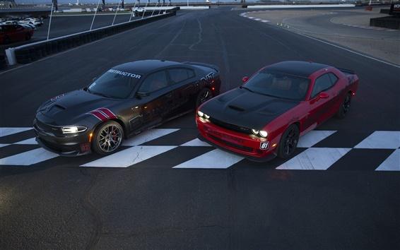 Wallpaper Dodge Challenger SRT cars, two supercars