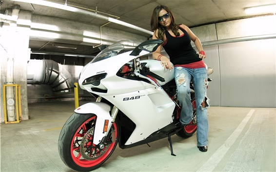 Wallpaper Ducati 848 white color motorcycle and girl