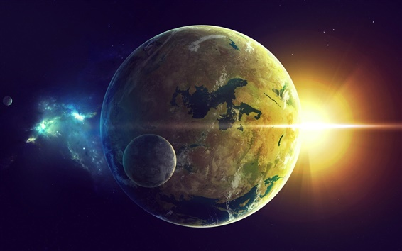 Wallpaper Earth and moon, sun rays, space