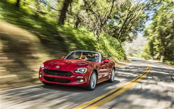 Wallpaper Fiat 124 Spider red supercar speed