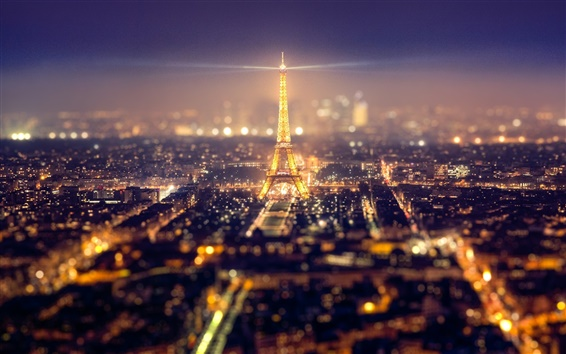 Wallpaper France, Paris, city, Eiffel Tower, lights, beautiful night