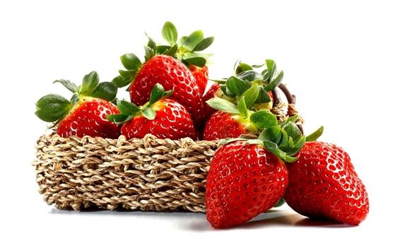 Wallpaper Fresh strawberry, red berries, fruit, basket