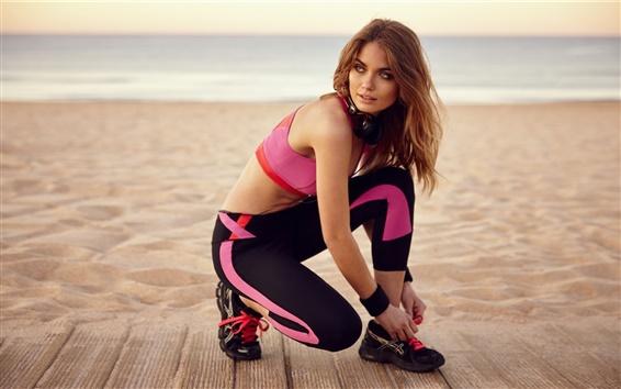 Wallpaper Girl at beach, sportswear, jogging