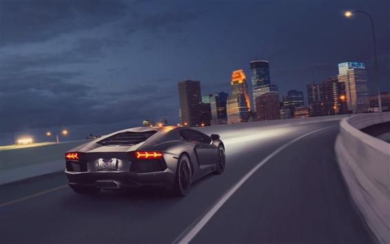 Wallpaper Gray Lamborghini supercar, speed, rear, night