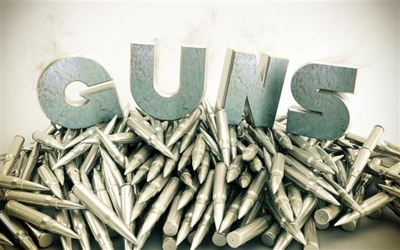 Wallpaper Guns, bullet, 3D design