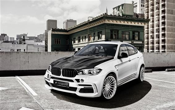 Fond d'écran Hamann BMW X6M voiture F16, croisement blanc noir