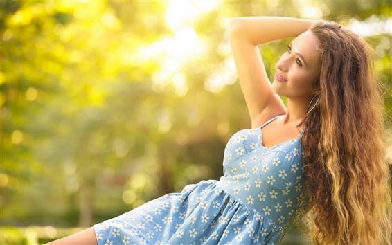 Wallpaper Happy girl in the summer, blue dress, sun