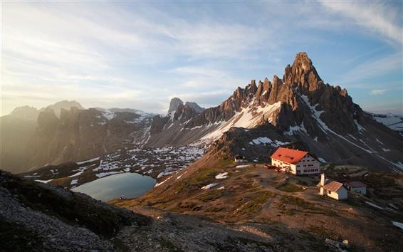 Wallpaper High mountains, house, lake, snow, blue sky