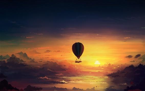 Wallpaper Hot air balloon, sunset, art painting