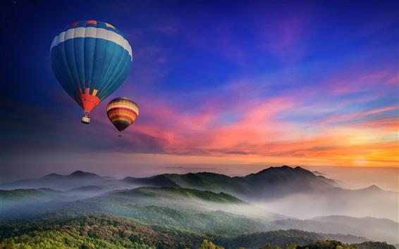 Wallpaper Hot air balloons flying, morning, dawn, sunrise, mountains, fog