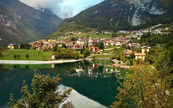 Wallpaper Italy, Molveno, mountains, houses, lake, clouds