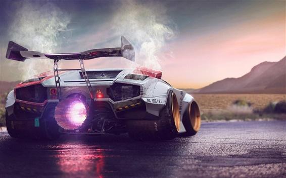 Fondos de pantalla Lamborghini Concept vista posterior superdeportivo, el motor súper