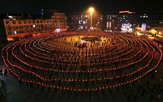 Wallpaper Lantern Festival, China, night, Dragon dance